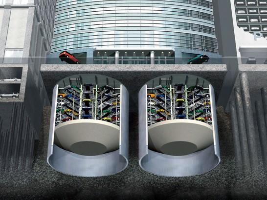 Estacionamento subterrâneo de carros no japão