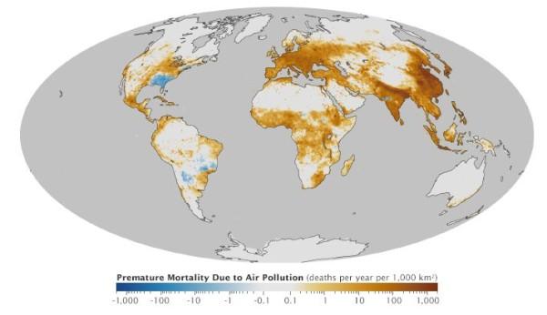 Morte prematura decorrente da poluição do ar. Foto: nasa