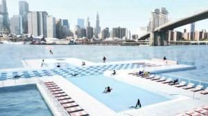 Piscina flutuante em Nova York