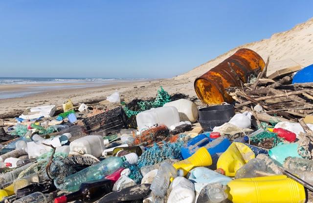 foto de praia suja com lixo